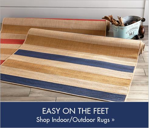 Banner: Easy on the Feet Shop Indoor/Outdoor Rugs, featuring Multistripe Indoor/Outdoor Rug