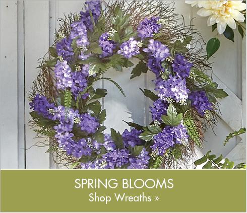 Banner: Spring Blooms Shop Wreaths, featuring Cream Dahlia Wreath + Garland