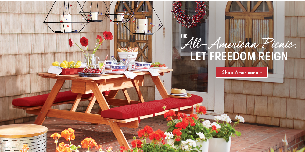 Banner: The All-American Picnic: Let Freedom Reign, featuring Picnic Table with Storage, Americana Dinnerware and Placemats