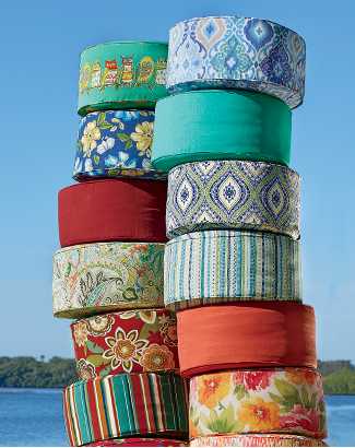 Banner: Outdoor is in - Decorate for the Sun Days! Featuring Pouf Cushions
