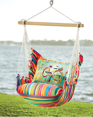 Link to Outdoor Furniture category, featuring the Stripe Bike Hammock and Pillow