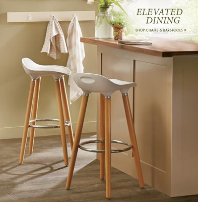 Banner: Elevated Dining featuring the Beechwood Bar Stools with white seats and wooden & Kitchen | Country Door Pezcame.Com