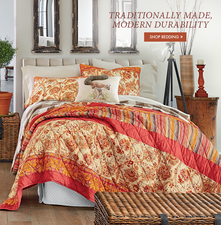 Banner: Traditionally Made, Modern Durability, featuring Saffron Pieced Quilt