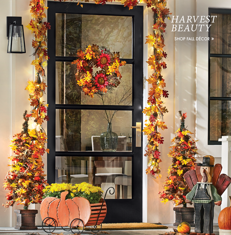 Banner: Harvest Beauty, featuring several decor items in fall colors