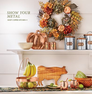 Banner: Show Your Metal featuring the Copper Pumpkin Platter & Kitchen - Décor Dishware Storage Small Appliances | Country Door Pezcame.Com
