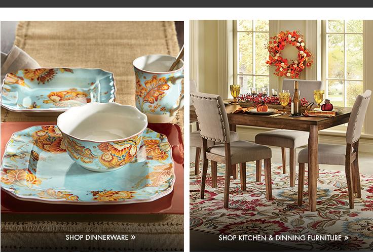 Dinnerware section: Featuring the Gabrielle Blue Dinnerware Set