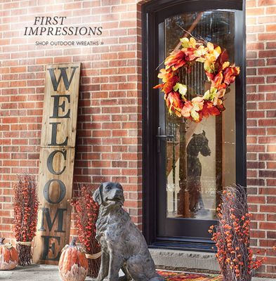 Banner: First Impressions displaying the Maple Leaf Wreath & Outdoor - Decorations Solar Lighting Patio Furniture | Country Door Pezcame.Com