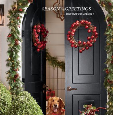 Banner: Season\u0027s Greetings Shop Outdoor Wreaths featuring Jingle Bell Wreath & Outdoor - Decorations Solar Lighting Patio Furniture | Country Door Pezcame.Com