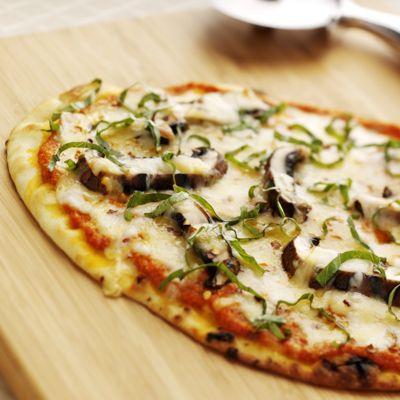 Flatbread Pizzas with Romesco Sauce, Portobello Mushrooms, Wisconsin Mozzarella and Smoked Gouda