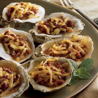 Wisconsin Smoked Gouda-Baked Oysters and Chorizo