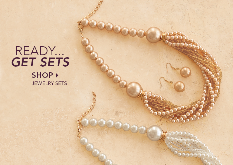 Ready...Get Sets Shop Jewelry Sets, featuring Faux Pearl necklace/earring set