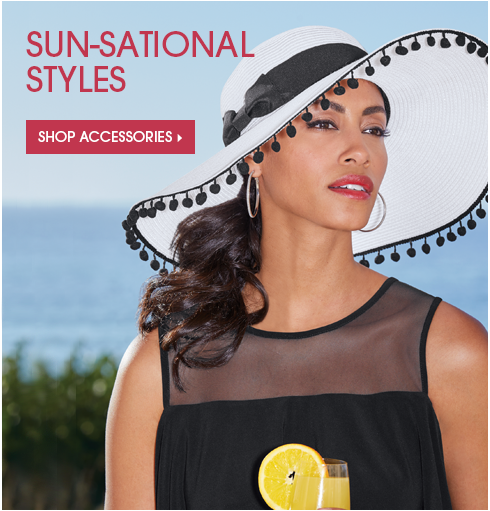 Sun-Sational Styles Shop Accessories, featuring Sun Hat with Pom Trim