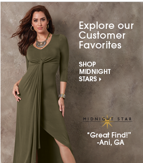 Explore our Customer Favorites - Shop Midnight Stars, featuring Angeline Dress w/ Midnight Star icon and short review.