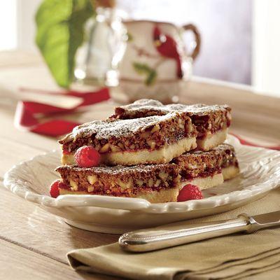Raspberry Walnut Shortbread Bars