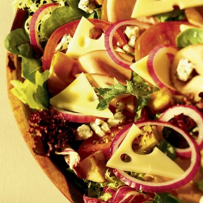 Seasonal Salad With Wisconsin Baby Swiss And Blue Cheese, Ham And Bagel Croutons