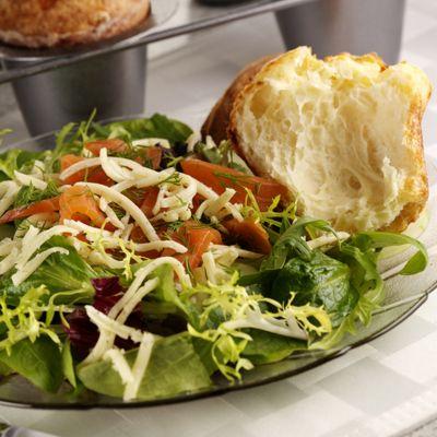 Smoked Salmon Salad with Dill Havarti Popovers