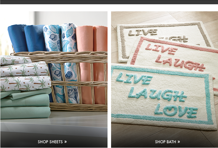 """Banner: Nautical & Nice, displaying our """"By the Shore"""" Sheets"""