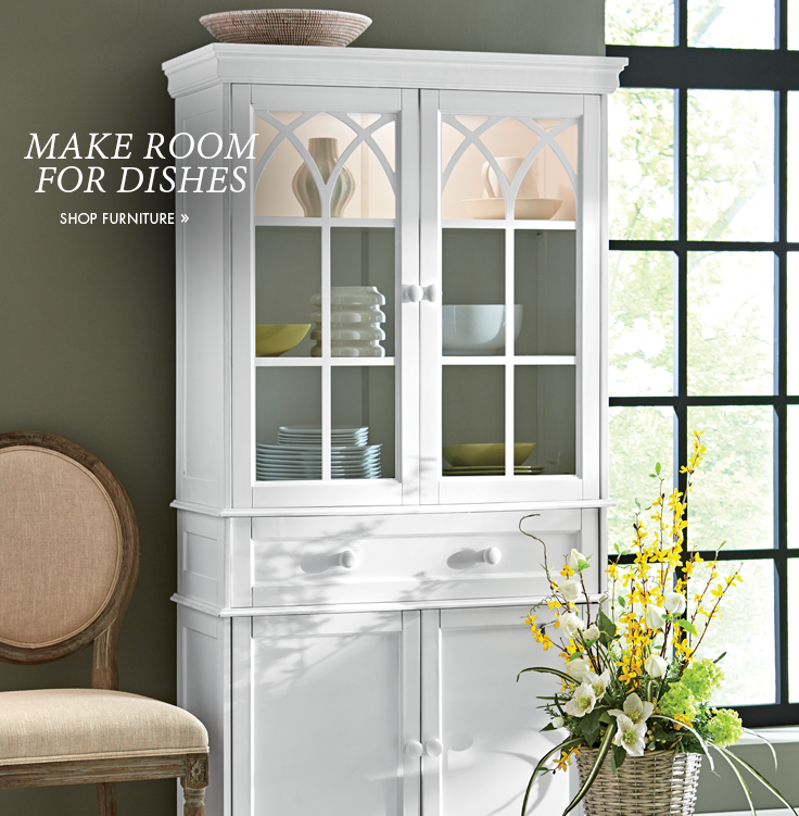 Banner: Make Room for Dishes, featuring one of our hutches