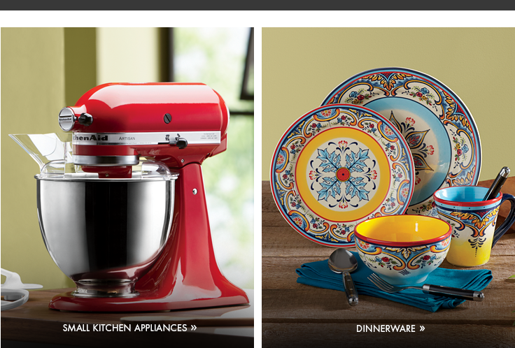 Banner: Spoil the Cook, showing our Artisan Stand Mixer by KitchenAid