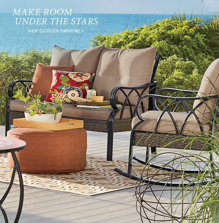 Banner: Make Room Under the Stars, displaying our Tan Loveseat