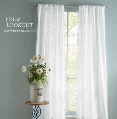 Banner: Your Look-Out featuring our Pom Pom Panel Pair Window Treatment & Rugs - Living Room Rugs Kitchen \u0026 Outdoor Area Rugs | Country Door Pezcame.Com