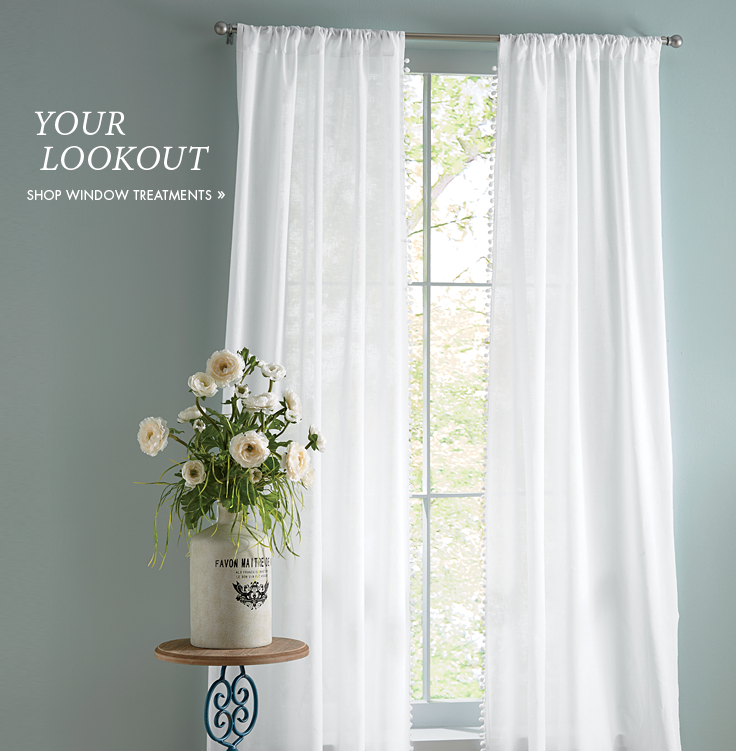 Banner: Your Look-Out, featuring our Pom Pom Panel Pair Window Treatment