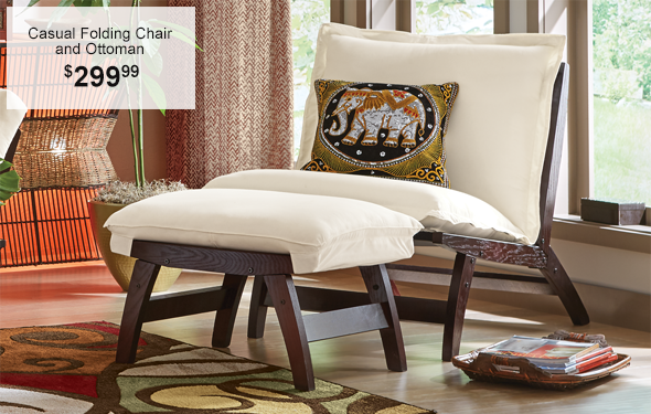 Casual Folding Chair and Ottoman