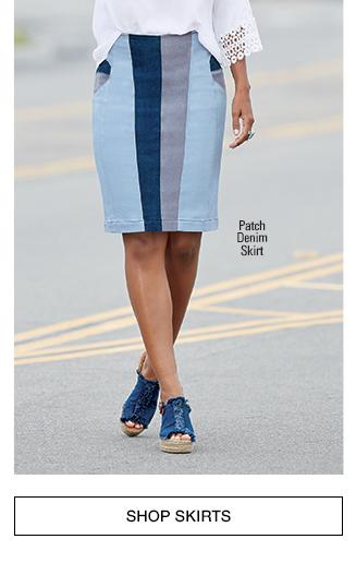 Shop Skirts, featuring Patch Denim Skirt