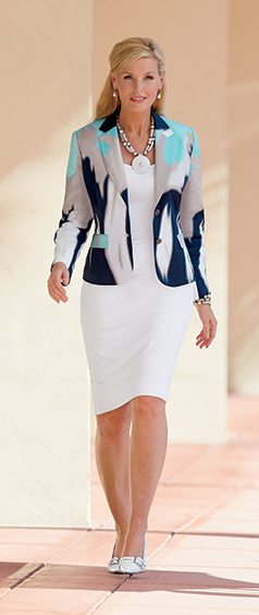 Wear to Work category, featuring our fully lined Abstract Suit with white skirt and print jacket