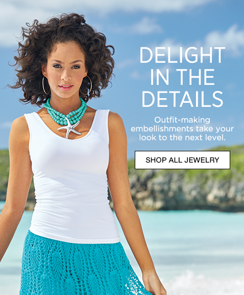 Banner: Delight in the Details, outfit-making embellishments take your look to next level, displaying Starfish Necklace