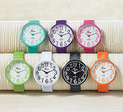 Watches category, displaying several colors of our Large-Dial Stretch Watch