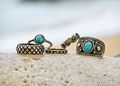 Rings category, displaying our Faux-Turquoise 5-piece Ring Set