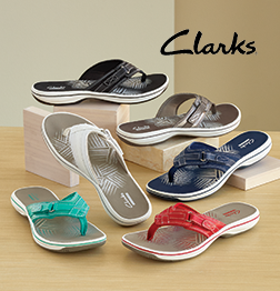 Clarks Footwear category, displaying several colors of Clarks Breeze Sea Thong