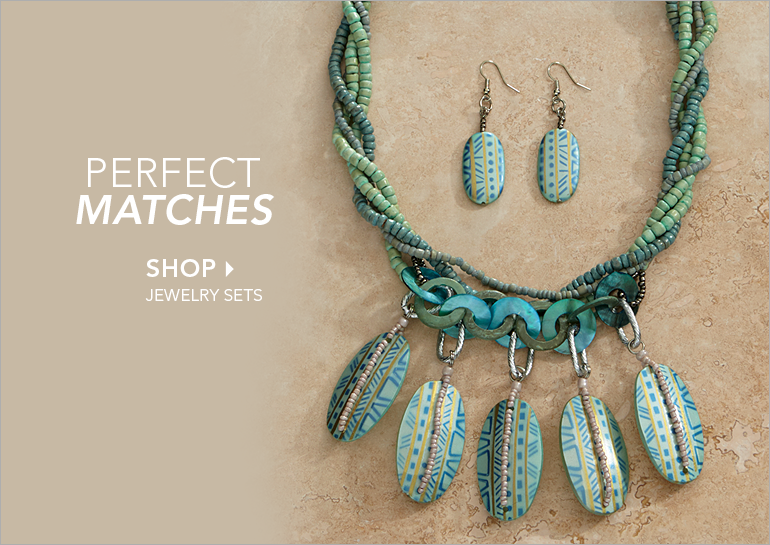 Perfect Matches  - Shop Jewelry Sets Featuring Blue/Green Beaded Necklace/Earrings Set