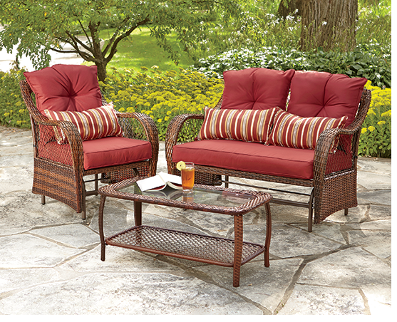 Shop Outdoor Furniture, featuring Resin Wicker Glider Chair, Glider Loveseat and Table