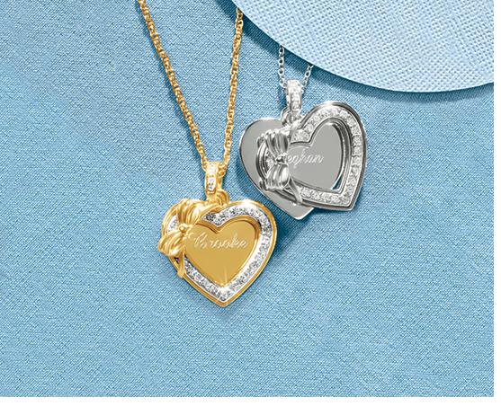 Shop Necklaces & Pendants, featuring Name Heart/Bow Pendant