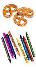 pretzels and crayons