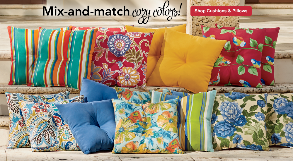 Mix-and-match mountains of cozy color! SHOP OUTDOOR CUSHIONS-AND-PILLOWS, featuring Pillow with Button