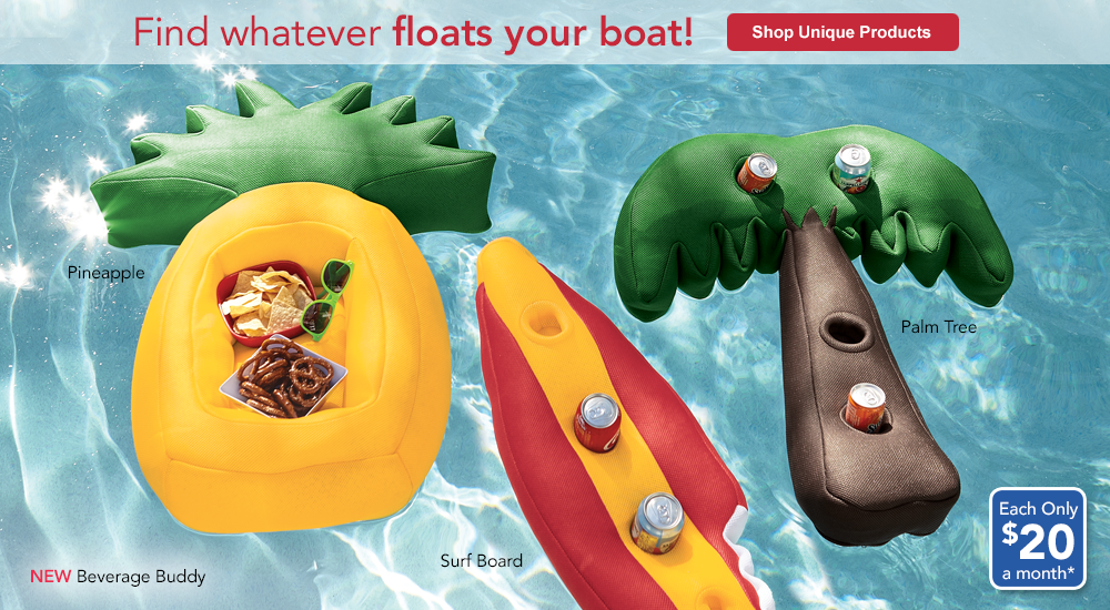 Fun new finds that'll float your boat! SHOP UNIQUE PRODUCTS, featuring Beverage Buddy