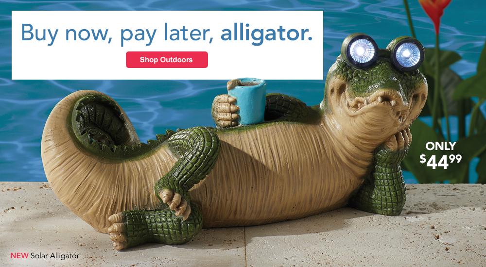 Soak up summer in style! SHOP OUTDOORS, featuring Solar Alligator