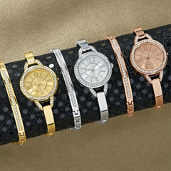 Crystal Semi-Bangle Watch and Necklace Set - Shop Watches