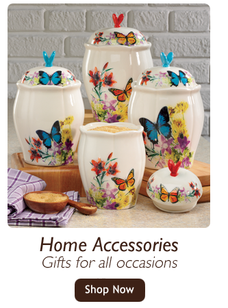 Home Accessories-Gifts for all occasions-Shop Home Accessories, featuring 4-Piece Butterfly Canister Set