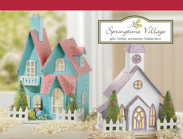 Christmas village affordable christmas gifts swiss colony shop springtime village featuring led easter house negle Images